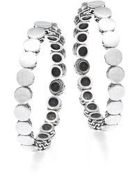 John Hardy - 18k White Gold & Silver Hoop Earrings - Lyst