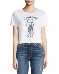 db1e5b0644c French Connection Le Poodle Cropped Slogan T-shirt in White - Lyst