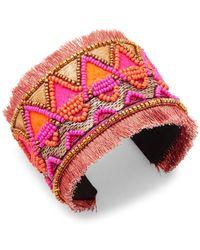 Panacea - Beaded Fringe Cuff Bracelet - Lyst