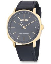 Nixon - Regent Ii Leather-strap Watch - Lyst