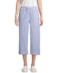 Beach Lunch Lounge - Striped Linen & Cotton Blend Pants - Lyst