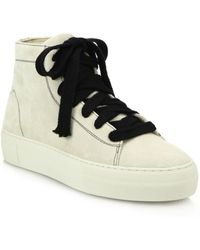 Helmut Lang - High-top Suede Lace-up Trainers - Lyst