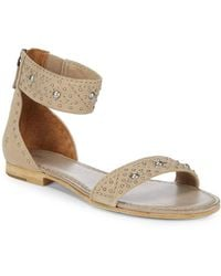 Frye - Carson Deco Zip Leather Ankle-strap Sandals - Lyst