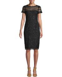 Adrianna Papell - Illusion Bead & Sequin Sheath Dress - Lyst