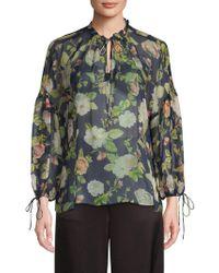 15a582c2a84 Alice + Olivia Omega Floral-print Blouson-sleeve Wrap Top - Save 25% - Lyst