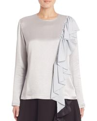 TOME - Ruffle Front Shimmer Tee - Lyst