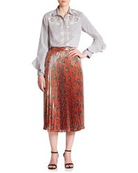 SUNO - Embroidered Button Front Cotton Shirt - Lyst