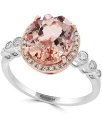 Effy - Diamond, Morganite And 14k Rose And White Gold Statement Ring - Lyst