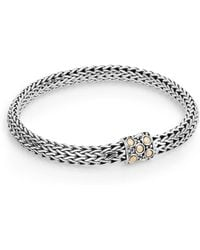 John Hardy - Dot 18k Yellow Gold & Sterling Silver Oval Chain Bracelet - Lyst