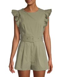 Moon River - Ruffled Cotton Romper - Lyst
