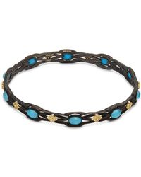Armenta - Old World White Diamond, Blue Turquoise, Rainbow Moonstone & 18k Goldplated Sterling Silver Bracelet - Lyst