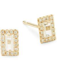 Suzanne Kalan - White Topaz, Diamond And 14k Yellow Gold Stud Earrings - Lyst