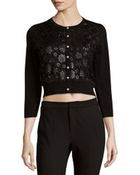 Karl Lagerfeld - Cropped Floral Cardigan - Lyst