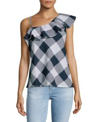 Beach Lunch Lounge - Gingham Ruffled Cotton Top - Lyst