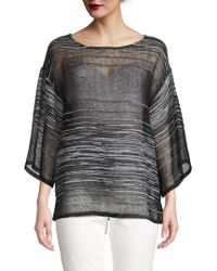 Eileen Fisher - Illusion Three Quarter-sleeve Top - Lyst