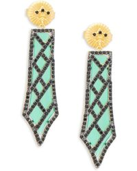 Freida Rothman - Green Agate Dangle Earrings - Lyst
