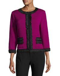 St. John - Rib-knit Zippered Jacket - Lyst