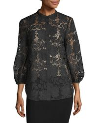 French Connection - Lace Cotton Top - Lyst