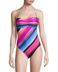 La Blanca - Striped Halter One-piece Swimsuit - Lyst