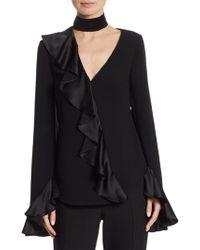0163b80f79c Diane von Furstenberg Mariah Lips Sheer Silk Blouse in Blue - Lyst