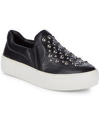 Saks Fifth Avenue - Studded Leather Platform Slip-on Shoes - Lyst
