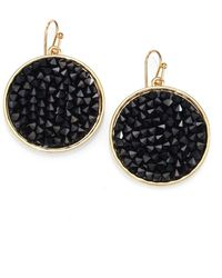 ABS By Allen Schwartz - Black Crystal Disc Earrings - Lyst