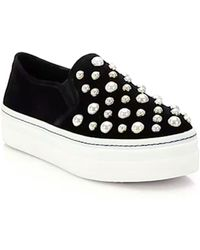 Alice + Olivia - Sasha Suede And Faux Pearl Slip-on Sneakers - Lyst