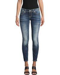 Miss Me Embellished Ankle Skinny Jeans - Blue