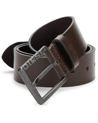DIESEL - Square Buckled Leather Belt - Lyst