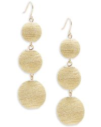 Gemma Simone - Multicolor Triple Drop Pom-pom Earrings - Lyst