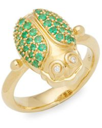 Temple St. Clair - Diamond, Crystal And 18k Yellow Gold Ring - Lyst