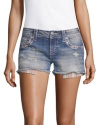 Miss Me - Striped-pocket Denim Shorts - Lyst