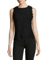 Saks Fifth Avenue Black - Lace Sleeveless Blouse - Lyst