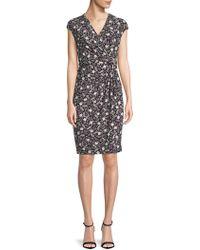 Anne Klein - Printed Cap-sleeve Wrap Dress - Lyst