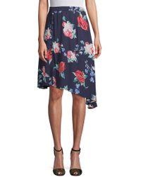 Cirana - Asymmetrical Rose-print Skirt - Lyst