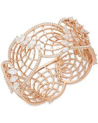 Adriana Orsini - Crystal And 18k Rose Gold Hinge Bracelet - Lyst