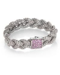 John Hardy - Classic Chain Pink Sapphire & Sterling Silver Medium Braided Bracelet - Lyst