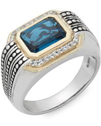 Effy - Light Blue Topaz, White Topaz, 925 Sterling Silver And 14k Yellow Gold Ring - Lyst