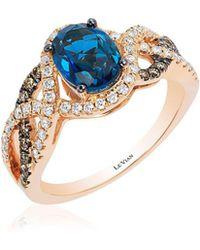 Le Vian - Chocolatier® Deep Sea Blue Topaztm & Vanilla Diamond® Interwoven Ring - Lyst