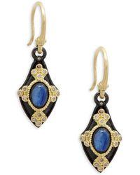 Armenta - 18k Yellow Gold, Kyanite & Champagne Diamond Drop Earrings - Lyst