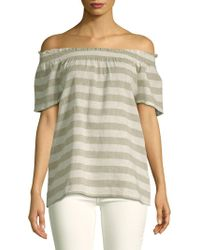 c1ab7f22ef2a3 Lyst - Vince Camuto Smocked Cross Front Off The Shoulder Blouse in White