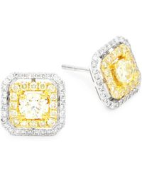 Effy - Diamond & 14k Gold Square Stud Earrings - Lyst