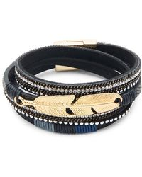 Panacea - Leather & Crystal Wrap Bracelet - Lyst