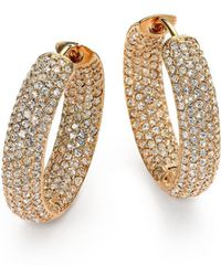 "Adriana Orsini - Pavà Crystal & 18k Goldplated Inside-outside Hoop Earrings/0.75"" - Lyst"