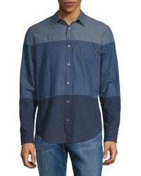 Calvin Klein - Colorblock Chambray Button-down Shirt - Lyst