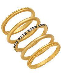 Freida Rothman - Lattice Motif Set Of Five Sterling Silver & Crystal Beaded Stackable Rings - Lyst