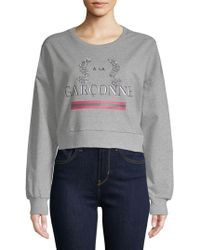 Lea & Viola - Embellished Heathered Sweatshirt - Lyst