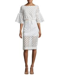 MILLY - Floral Embroidered Midi Skirt - Lyst
