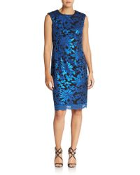 Chetta B - Sequin Jacquard Sheath Dress - Lyst