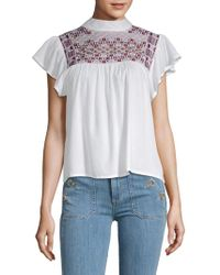Raga - Diana Embroidered Ruffled Top - Lyst